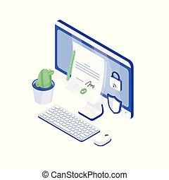 e-signature, il, document, informatique, vecteur, shield., électronique, sûr, signature, confirmation., isométrique, papier, authenticité, technology., bureau, moderne, assurer, illustration., ou, serrure