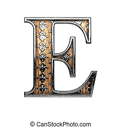 e silver letter. 3D illustration