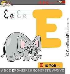 e, spotprent, brief, elefant
