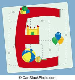 """""""e"""", stylizowany, litera, alfabet"""