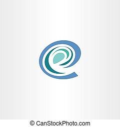 e, stylizowany, wektor, litera, logo, ikona