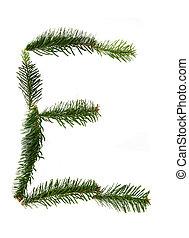 E - symbol from christmas alphabet
