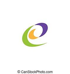 e, symbol, machać, stylizowany, wektor, projektować, litera, logo