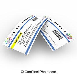 e-tickets, для, воздух, путешествовать