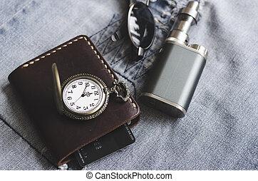 e, ur, plånbok, cigarett, tillbehör, man, glasögon