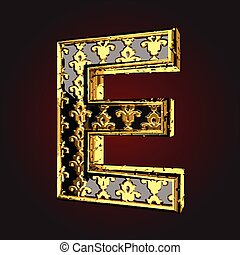 e vector black letter with gold
