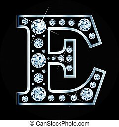 E vector letter made with diamonds isolated on black background