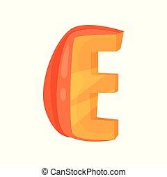 E veggie vegetable English alphabet letter made from pumpkin vector Illustration on a white background
