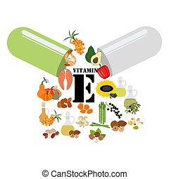 e, vitamina, illustrazione