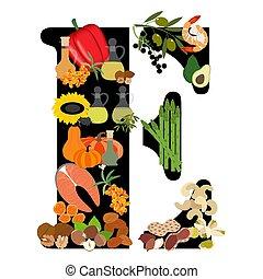 e, vitamine, illustratie