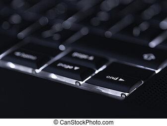 e, wahlweise, laptop tastatur, fokus, edv, closeup, backlit