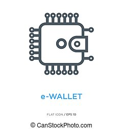 E-wallet line flat icon - Wallet in the shape of chip as...
