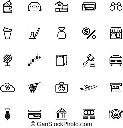 E wallet line icons on white background
