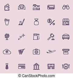 E wallet line icons purple color