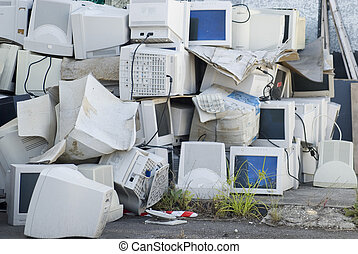 e-waste - Electronic waste, a large pile of unwanted...