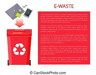 E-Waste Poster Container, Vector Illustration