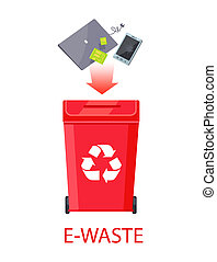 E-Waste Poster with Headline Vector Illustration