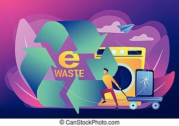 e-waste, réduction, vecteur, illustration., concept