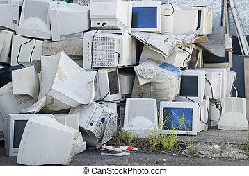 e-waste - Electronic waste, a large pile of unwanted...