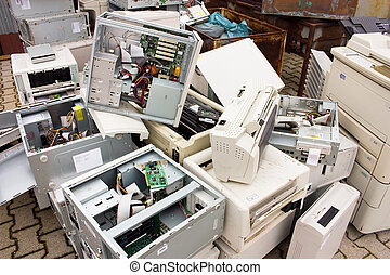 e-waste - heap of old electronic equipment to recycle -...