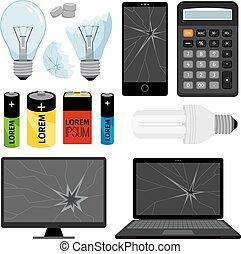e-waste, zbiór, ikony