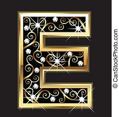 e, zlatý, litera, s, swirly, ozdoby