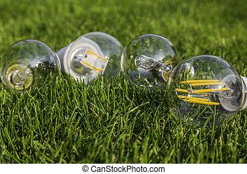 e27, タングステン, ハロゲン, そして, 様々, リードした, 電球, 芝生に