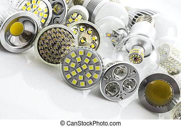 e27, puce, couverture, verre, mené, technologie, lampe, lampes, différent, gu10, puissance
