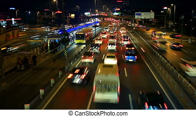 E5 Road a traffic nightmare. Night Timelapse - Istanbul has...