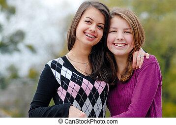 eachother, -, twee, vriendinnen, het koesteren, vriendschap,...