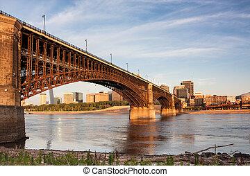 Eads bridge rail road crossing mississippi river at St Louis