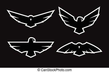 Eagle, a set of monochrome logos.