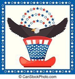 eagle and american hat patriotic symbol