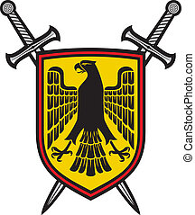 eagle and crossed swords coat of arms ( heraldic composition...