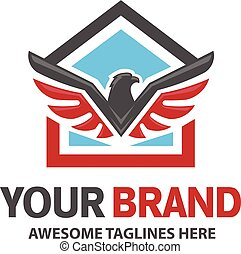 Eagle and house for real estate logo