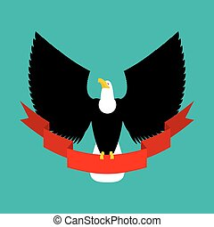 Eagle and red ribbon. Big black bird emblem