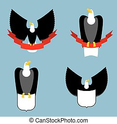 Eagle and red ribbon set. Black bird predator. Hawk and shield. Collection for emblem and emblems for sports teams. Space for text