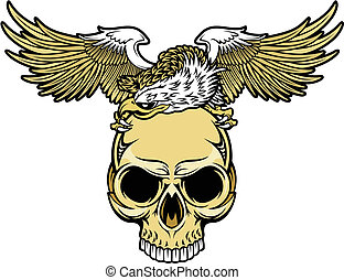 eagle and skull  - white head eagle perch on brown skull
