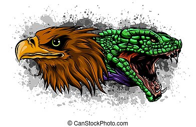 Eagle and Snake. Tattoo vector illustration design