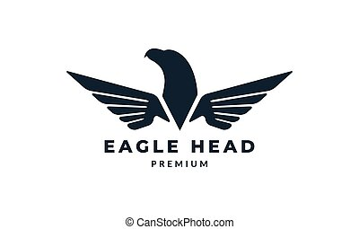 eagle and wings modern rounded logo vector illustration design