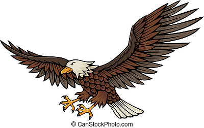 Eagle attacking illustration isolated on white background.