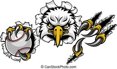 Eagle Baseball Cartoon Mascot Tearing Background