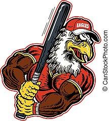 eagle baseball - eagle mascot holding a baseball bat