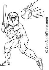 Eagle Baseball Player Mascot Swinging Bat at Ball