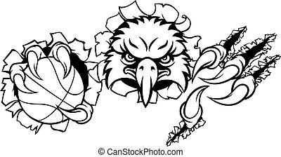 Eagle Basketball Cartoon Mascot Ripping Background