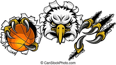 Eagle Basketball Cartoon Mascot Tearing Background