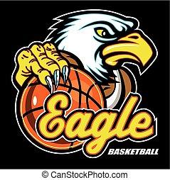 eagle basketball mascot with talons around ball