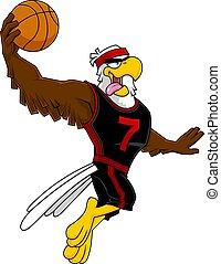 Eagle Basketball Player Cartoon Character Moving Dribble