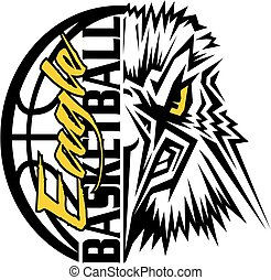 eagle basketball team design with ball and mascot for school...