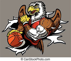 eagle basketball team design with mascot ripping through the...